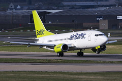 Air Baltic, Boeing 737-53S, YL-BBD. (M. Leith Photography) Tags: aberdeen airport dyce scotland scottish sunshine nikon d7200 70200vrii mark leith photography flying aviation airplane cockpit aircraft grass forest tree wheel road air baltic boieng 737 sunny