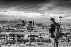 Viewing platform (Zoom58.9) Tags: sky clouds mountain people human table cheears view viewpoint monochrome bw landscape nature himmel wolken berge menschen tische stühle aussicht aussichtspunkt landschaft natur sw europe europa switzerland schweiz canon eos 50d