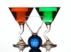 Triangles (Karen_Chappell) Tags: three 3 rgb red green blue white glass glasses triangle martini shapes shape stilllife liquid ball round product