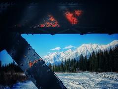 Framed (Edna Winti) Tags: ednawinti alberta canmore mountains snow ice bowriver frozen enginebridge