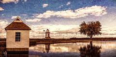 The Boathouse - The Lighthouse - The Tree - Port Clinton, Ohio (5liter) Tags: boathouse lightstation portclinton ohio lakeerie shoreline postcard lake