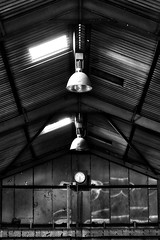 6:28 (Leirinmore) Tags: xt1 scotland nairnshire building decay corrugated monochrome interior abandoned purlins rooflights industrial roof highlands time trusses broken lights clock structure fujifilm