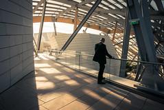 Vuitton's Security Guard (Gilderic Photography) Tags: architecture people lines paris vuitton man street light autumn city shadows