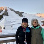 Sheila Vockeroth and Patti Grimsrud volunteering for the BC CUP FIS Race Series at RED Mountain