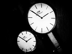 YOU AND ME.. (Ageeth van Geest) Tags: timepiece time two 2 smile zwartwit watching watch monochrome bw blackandwhite timepieces macromondays