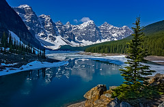 Lake Moraine thaw (Robert Grove 2) Tags: lakemoraine banff ice mountains canada alberta robertgrove landscape blue