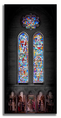 Stained Glass Window (Rohit KC Photography) Tags: window stainedglass glass vibrant cathedral holy worship beautiful selectivecolors colorful edited framed lightroom canon interior church california sanfrancisco peaceful ishootraw rohitkcphotography art vertical aplacetobe vignette canonphotos photography photographer hobby amateur mood