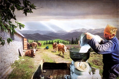 The Dairy Farmer (jarr1520) Tags: sky cloud landscape outdoor sun light mountains farm farmer dairyfarmer barn milk composite textured cart cans cows
