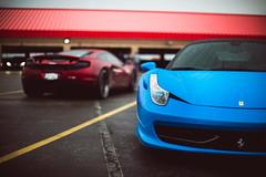 Italy vs. England (Noah L. Photography) Tags: ferrari 458 italia mclaren mp412c 12c blue matte sating red car sportscar supercar british italian rain water ocfestivalofspeed ocfos autoclubspeedway fontana nikon55mmf12ai