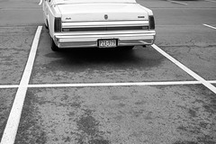 Lincoln Town Car (Iggy & StarCat) Tags: 28mmvoigtlanderultron19 antiquing bw car closeup epsonrd1 lines monochrome pavement lincoln towncar
