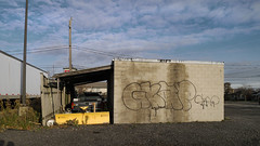 (geowelch) Tags: toronto etobicoke gta urbanlandscape newtopographics sky clouds tagged cinderblock urbandecay utilityshed panasoniclumixgvario1232mm3556 panasoniclumixgx1
