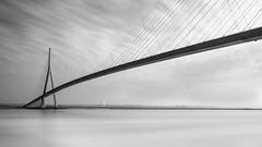 Wide Lines (frank_w_aus_l) Tags: normandy normandie france frankreich bw blackandwhite noiretblanc bridge pontdenormandie brücke infinity architecture nikkor 1635nikon d810 longexposure tranquil fineart art architektur