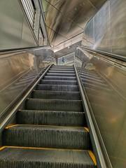 Man on the platform. (tomquah (busy period)) Tags: escalators perspective vanishingpoint hdr tomquah huaweip20pro metallic