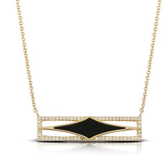 Flattened Diamond-Shaped Black Onyx Suspended in Diamond Encrusted Square Pendant on 14k Yellow Gold Necklace (diamondanddesign) Tags: flatteneddiamondshapedblackonyxsuspendedindiamondencrustedsquarependanton14kyellowgoldnecklace n8464bo doves gatsby necklaces 014 ct diamond 14k yellow gold front