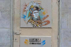 Rue Clovis - Paris (France) (Meteorry) Tags: europe france idf îledefrance paris rueclovis ruedescartes street rue art artderue stencil porte door fresque illustres c215 painting toussaintlouverture christianguémy graffiti c215autourdupanthéon december 2018 meteorry