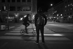 Just a thought (Bjarne Erick) Tags: waiting night zebra crossing bike city