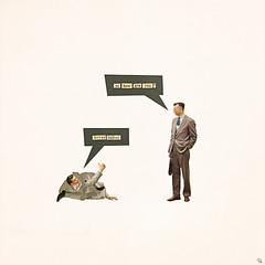 nb (woodcum) Tags: man words bubble talk collage retro vintage grain minimal minimalistic messed surreal