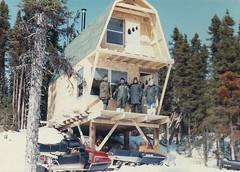Labrador - 1986-04-05 (MacClure) Tags: canada newfoundland labrador family shane snowmobile skidoo cabin