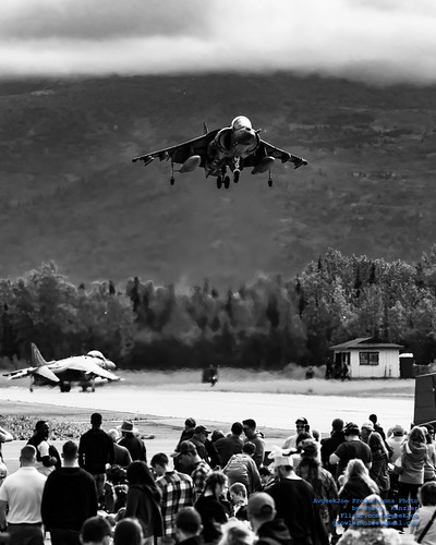 AV-8B Harrier Returning To Its Arctic Thunder Base in Monochrome