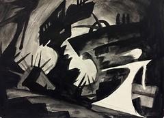 Darkonstruction (Skyler Brown Art) Tags: architecture art artwork bw blackwhite blackandwhite creepy dark female germanexpressionism girl gothic noir paint painting paper woman