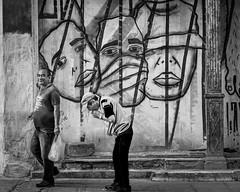 Street photography in Havana with graffiti (dwb838) Tags: 8x10 havana grafitti urbanlandscape bw