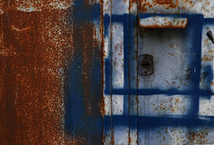 paint (sandrorotonaria) Tags: blue rust door decady old brown wall white