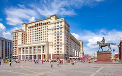 """Four Seasons Hotel (ex""""Moscow"""", Moscow, Russia) (KonstEv) Tags: building architecture moscow russia hotel ussr soviet sculpture monument zhukov manege sky"""