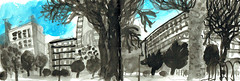 Russell Square, Bloomsbury, London WC1 (JamesHobbs) Tags: jameshobbs drawing ink sketchbook bloomsbury russellsquare