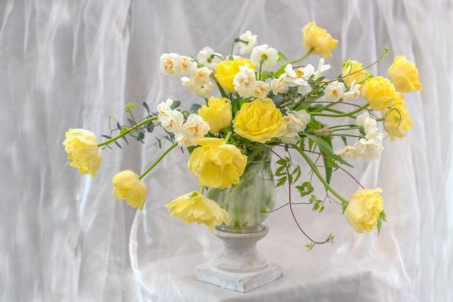 Обои желтый, букет, тюльпаны картинки на рабочий стол, раздел цветы - скачать