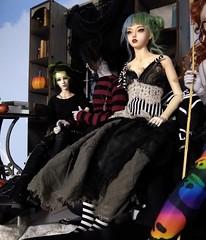 A new dress for Eleanor (Tatterpunk) Tags: tatterpunk dress gown steampunk bjd doll ball jointed iplehouse fid raffine oscar bianca raccoon raccoondoll mika goth dolls msd ws ns gs gear eye geareye hybrid jid body