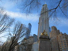 2019 USS Maine Monument Columbus Circle NYC 2303 (Brechtbug) Tags: uss maine monument 1913 beaux arts commemorate controversial sinking battleship 1898 the ship has sculpted representations mythological figures victory peace courage fortitude justice central park entrance nyc 02192019 new york city arms wrapping around rock statue sculpture february 2019 columbus circle
