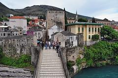Ready to Jump? (Jocelyn777) Tags: bridge landscape water neretvariver starimost oldbridge people architecture buildings monuments mostar bosniaandherzegovina balkans travel