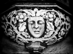 Guardian of the Gate (RichardK2019) Tags: stonework masonry cathedral derby monochrome dullmorning