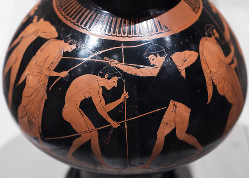 Athenian Red Figure psykter with pentathletes training in a palaistra