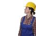 Skeptische Bauarbeiterin