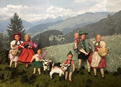 Ready for a picnic lunch (Foxy Belle) Tags: doll caco miniature mountain goat outside diorama plants bavarian german traditional folk clothing costume green red white family children schleich kid bell 118