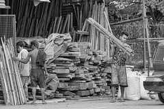 Timber (Beegee49) Tags: street timber merchant blackandwhite bw monochrome people carrying panasonic fz1000 happyplanet bata bacolod city philippines asia asiafavorites