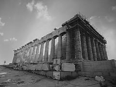 The Acropolis #8 (jimsawthat) Tags: enhanced ancient stone ruins acropolis parthenon scaffolding architecture urban athens greece blackandwhite