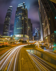 rush hour (Wizard CG) Tags: central hong kong night cityscape skyscrapers wide angle architecture highway light trail long exposure ifc tower bank china connaught road landscape city downtown travel car urban speed traffic builds evening skyscraper modern office illuminated dusk lights business photography transportation system skyline