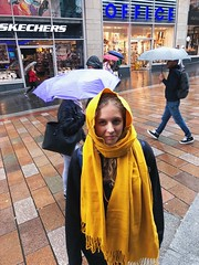 CYDT0393 (idefleunam) Tags: glasgow scotland uk rain rainyday fall autumn yellow scarf girl curly street highstreet skechers umbrella smile