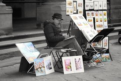 To bring an image alive (leewoods106) Tags: florence italy artist pictures man painting painter blackandwhite europe westerneurope southerneurope city oldcity beautifulplaces mustseeplaces hat glasses canoneos77d canonef50mmstm18