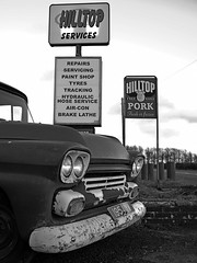 Hilltop Pork (heresthething...) Tags: chevy chevrolet apache pickup bw truck g7 micro43rds lumix 1950s csc lens prime