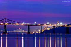 Compression (Joseph Greco) Tags: richmondsanrafaelbridge sanfrancisco twilight bluehour oaklandsanfranciscobaybridge skyline cityscape city angelisland marincounty salesforcetower