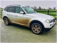 Mud, mud, glorious mud (JulieK (thanks for 8 million views)) Tags: car vehicle dirty fence hff bmw silver mud windows garden driveway wexford ireland irish iphonese 2019onephotoeachday