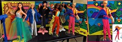 NEW SUPERSTAR LINEUP (ModBarbieLover) Tags: superstar barbie christie doll mattel 1970s 1980s vintage disco colourblocking jumpsuits glitter feathers sequins display fashion