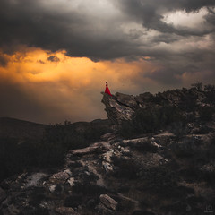 The Reckoning ({jessica drossin}) Tags: jessicadrossin woman dress red clouds sky rocks mountains cliff doom wwwjessicadrossincom