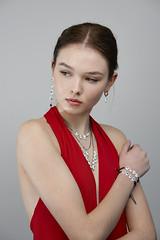 _D3X7315 (an Artist Without Art) Tags: larrygelmini rossoprezioso jewellery jewels red young ukraine model topmodel olga noretouch brera milano gioielli bellezza beautiful bijoux pendant necklace altamoda posing fashionweek paulcbuff
