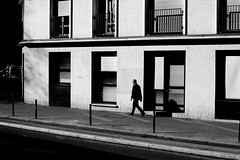 Following the building (pascalcolin1) Tags: paris13 homme man soleil sun ombres shadows building immeuble following suivant photoderue streetview urbanarte noiretblanc blackandwhite photopascalcolin canon canon50mm 50mm