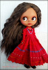 Mila (Motor City Dolly) Tags: custom ooak blythe doll brunette brown mohair hair reroot tan skin mexican folk embroidery dress