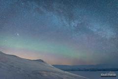 Andromeda and Faint Aurora (kevin-palmer) Tags: abisko sweden swedishlapland europe arctic march winter cold snow snowy nuolja scandinavianmountains nikond750 auroraskystation auroraborealis aurora northernlights faint kp0 green evening tamron2470mmf28 night sky stars starry astronomy astrophotography clear dark tornetrask north andromeda